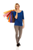 Woman with a lot of shopping bags. stock photos