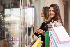 Woman with a lot of shopping bags Royalty Free Stock Image