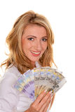 Woman with a lot of Swiss Francs. Young Woman with Swiss francs. Money in Switzerland Stock Image