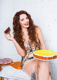 Woman with a lot of various cake pieces. Girl in the dress holding cheesecake Stock Photography