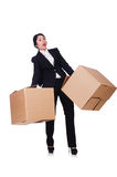 Woman with lots of boxes Royalty Free Stock Photography