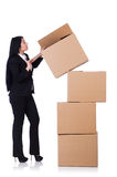 Woman with lots of boxes Royalty Free Stock Photos