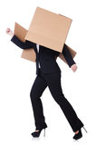 Woman with lots of boxes Royalty Free Stock Images