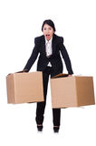 Woman with lots of boxes Stock Photography