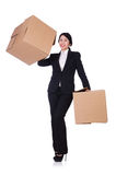 Woman with lots of boxes Royalty Free Stock Photo