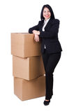 Woman with lots of boxes Stock Photo