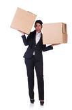 Woman with lots of boxes Stock Images