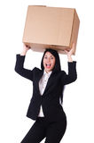 Woman with lots of boxes Stock Image