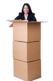 Woman with lots of boxes Royalty Free Stock Image