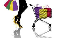 Woman with lots of colorful shopping bags and a caddy Royalty Free Stock Images