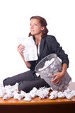 Woman with lots of discarded Royalty Free Stock Image