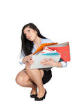 Woman with lots documents Stock Photography