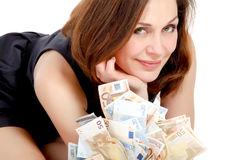 Woman with lots of money Stock Image