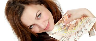 Woman with lots of money Stock Photography