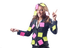 Woman with lots of notes Royalty Free Stock Photo