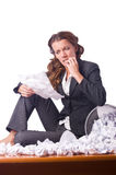 Woman with lots of paper Stock Image
