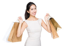 Woman with lots of shopping bag Stock Image