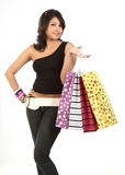 woman with lots of shopping bags Royalty Free Stock Images