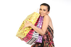 Woman with lots of shopping bags Royalty Free Stock Photography