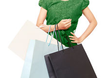 A woman with lots of shopping bags Royalty Free Stock Photography