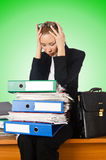Woman with lots of work Stock Images