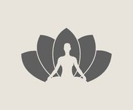 Woman and lotus flower silhouettes. Woman sit in meditation pose. Bodybuilder relaxing. Cutout silhouette. Lotus Flower Yoga Center Emblem Stock Photo