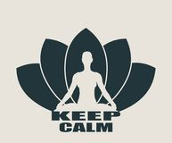 Woman and lotus flower silhouettes. Woman sit in meditation pose. Bodybuilder relaxing. Cutout silhouette. Lotus Flower Yoga Center Emblem. Keep calm text Royalty Free Stock Photography