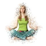 Woman in lotus pose with collapsing triangles Royalty Free Stock Photo