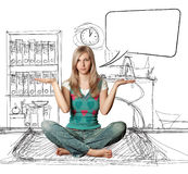 Woman in lotus pose with speech bubble stock photography