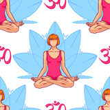 Woman in the lotus position. Beautiful seamless background of a woman in the lotus position. hand-drawn illustration Stock Images