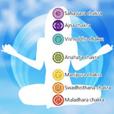 Woman in lotus position with seven chakras. EPS 8 Royalty Free Stock Photo