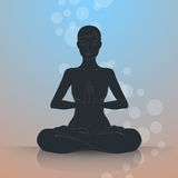 Woman in lotus position Royalty Free Stock Images