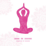 Woman in lotus yoga pose silhouette pink flowers Stock Photos
