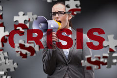 The woman with loudspeaker in crisis concept. Woman with loudspeaker in crisis concept Royalty Free Stock Image