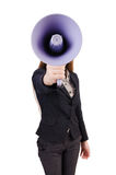 Woman with loudspeaker isolated Stock Images