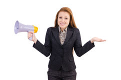 Woman with loudspeaker Royalty Free Stock Photography