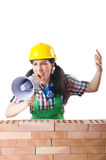 Woman with loudspeaker isolated Stock Photos