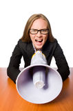 The woman with loudspeaker isolated on white Stock Photos