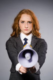Woman with loudspeaker Stock Images