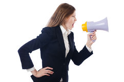 Woman with loudspeaker Stock Image