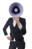 Woman with loudspeaker. On white Royalty Free Stock Image
