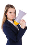 Woman with loudspeaker Royalty Free Stock Photo