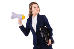 Woman with loudspeaker Stock Photos