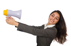 Woman with loudspeaker Royalty Free Stock Image
