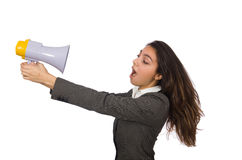 Woman with loudspeaker Royalty Free Stock Photos