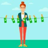 Woman loundering money. Stock Photos