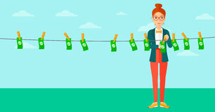 Woman loundering money. Stock Images