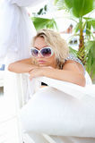 Woman on a lounger. Royalty Free Stock Photos