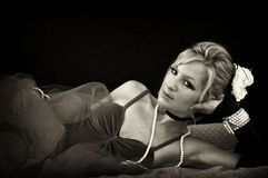 Woman lounging in sepia Royalty Free Stock Photo