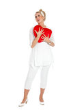 Woman in love. Beautiful blond girl with big red valentine heart Royalty Free Stock Images